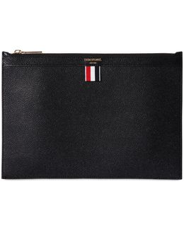 Medium Pebbled Leather Zip Pouch