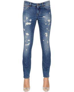 Skinny Destroyed Cotton Denim Jeans