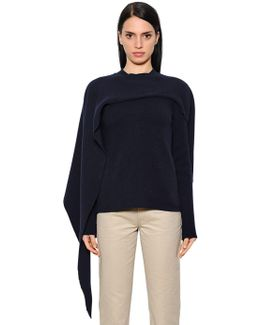 Asymmetric Wool & Cashmere Knit Sweater