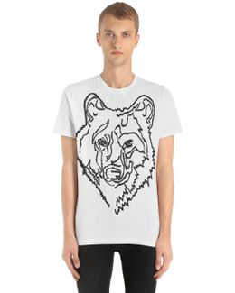 Wolf Embroidered Cotton Jersey T-shirt