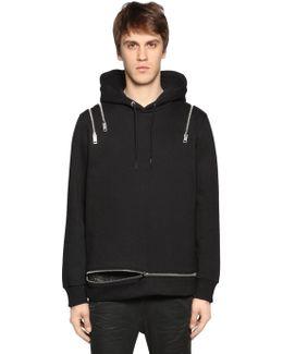 Zipped Hooded Cotton Blend Sweatshirt