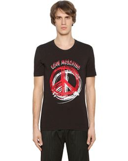 Peace Sign Print Stretch Jersey T-shirt