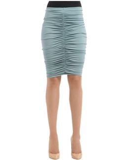 Caliga Draped Viscose Jersey Midi Skirt