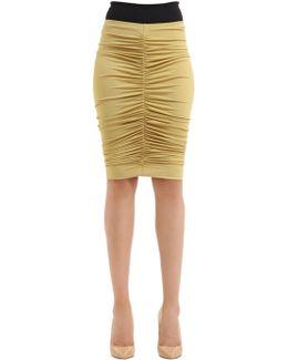 Caliga Draped Viscose Jersey Midi Skirt