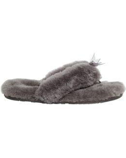 Fluff Shearling Flip Flops