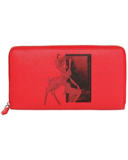 Bambi Faux Leather Zip Around Wallet