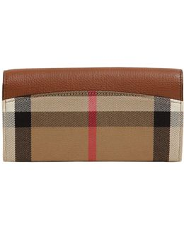 Check & Leather Continental Wallet