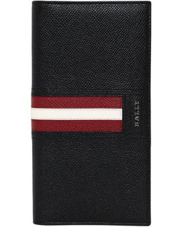 Stripes Saffiano Leather Vertical Wallet