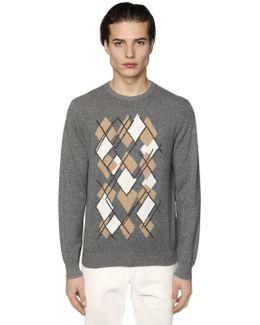 Argyle Intarsia Cashmere Knit Sweater
