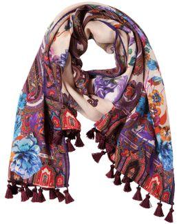 Deli Paisley & Floral Scarf W/ Tassels