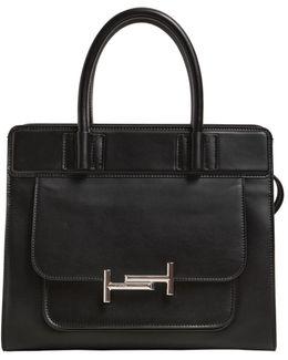 Medium Double Tt Leather Top Handle Bag