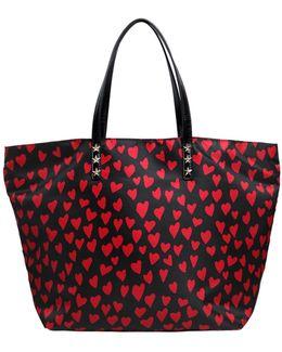 Hearts Printed Nylon Tote Bag