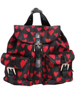 Hearts Print Nylon Mini Backpack