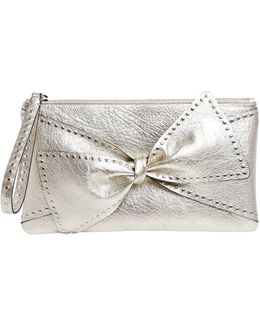 Small Studded Bow Leather Clutch