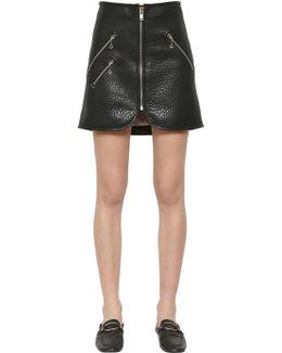 Kari Embossed Leather Skirt