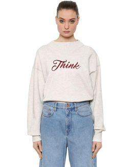 Think Embroidery Cotton Blend Sweatshirt