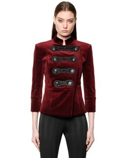 Embellished Military Velvet Jacket