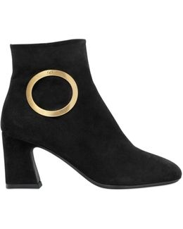 70mm Round Buckle Suede Boots