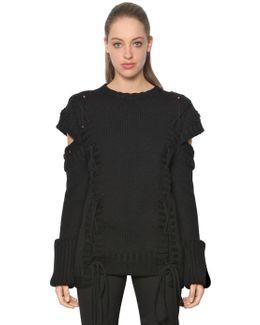 Lace-up Chunky Knit Wool Sweater