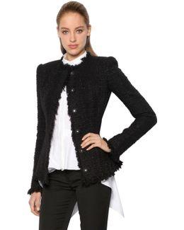 Lurex & Wool Blend Tweed Jacket