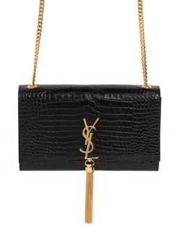 Medium Kate Monogram Croc Embossed Bag