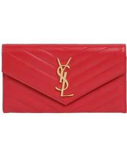 Quilted Monogram Large Flap Wallet