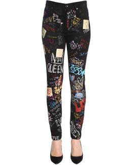 High Waist Printed Slim Fit Denim Jeans