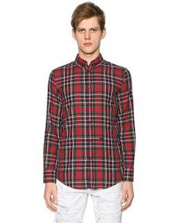 Plaid Cotton Shirt W/ Elbow Patches