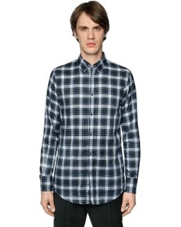 Plaid Cotton Shirt W/ Elbow Patches
