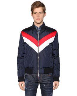 Striped Nylon Bomber Style Down Jacket