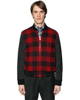 Check Wool & Nylon Sleeves Bomber Jacket