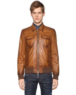 Faded Leather Biker Jacket