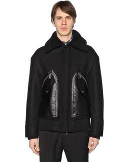 Wool Felt Jacket W/ Leather Pockets