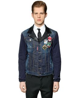 Denim & Nylon Jacket W/ Leather Details