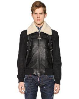 Leather Bomber Jacket W/ Shoulder Straps