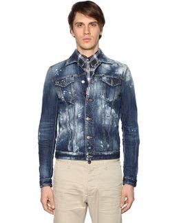 Powdered Effect Cotton Denim Jacket