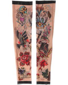 Tattoo Printed Nylon Tulle Sleeves