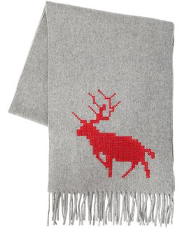 Deer Embroidered Wool & Cashmere Scarf