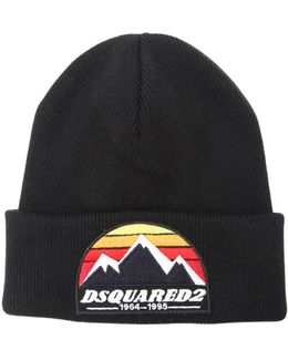 Mountain Patch Wool Knit Beanie Hat