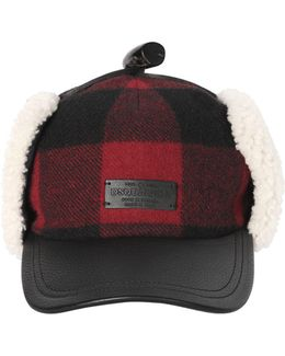 Check Wool & Leather Hat W/ Shearling