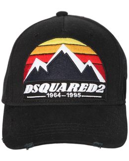 Mountains Patch Canvas Baseball Hat