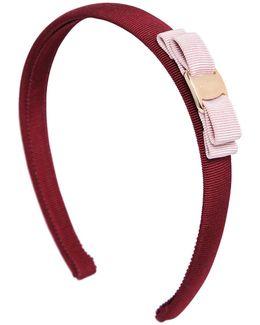 Bicolor Grosgrain Headband W/ Logo