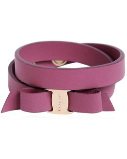 Doubled Leather Bracelet W/ Bow