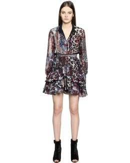 Ruffled Leopard Printed Silk Gauze Dress