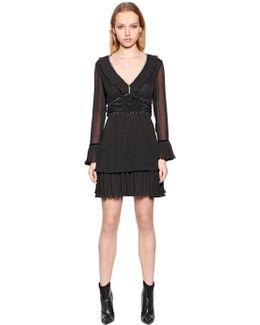 Viscose Crepe Dress W/ Crystals