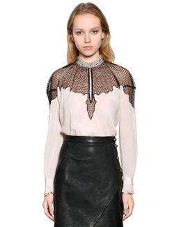 Viscose Crepe Shirt With Sheer Panel