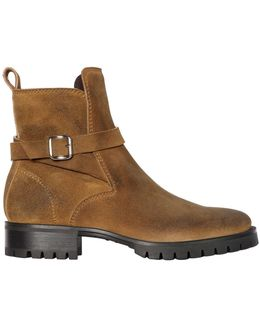 Suede Leather Boots W/ Buckle
