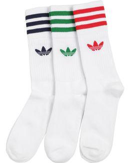 3 Pairs Of Cotton Blend Crew Socks