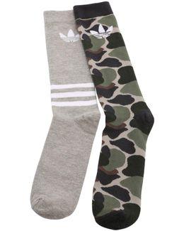 2 Pairs Of Camo & Trefoil Socks