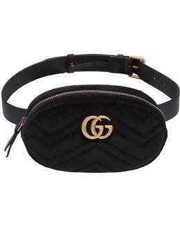 Small Gg Marmont Velvet Belt Pack